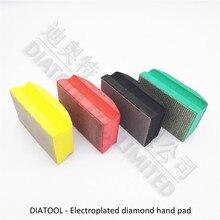 DIATOOL 2 stks Gestippelde gegalvaniseerde diamond hand polijsten pad 90X55 MM Hard schuimrug Hand pad