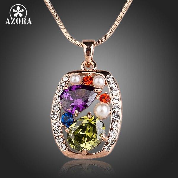 Collar AZORA, rosa, dorado, Multicolor y con múltiples formas, colgante de circonia cúbica TN0128