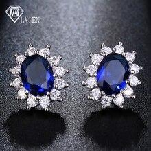 LXOEN mode bleu ovale Zircon boucles doreilles pour les femmes présent cadeau rouge cristal Bijoux pour fille boucles doreilles Oorbellen petites boucles doreilles
