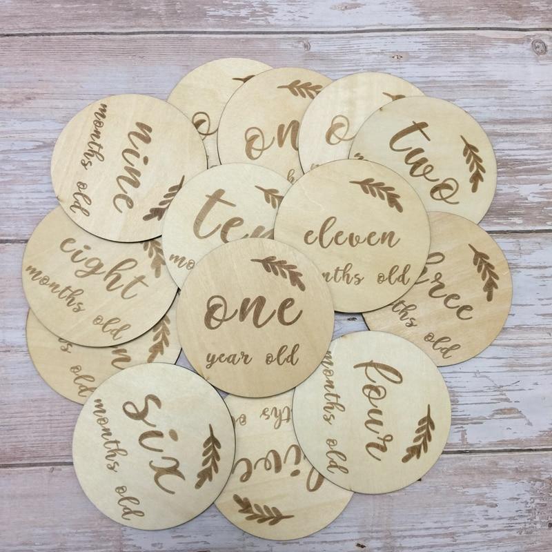 Set von 14 stücke monate runde holz disce baby geschenk karte milestone karten
