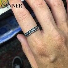 Canner lune Phase lune Cycle anneaux mode argent couleur acier inoxydable anneau astronomique astrologie loisirs bijoux pour hommes