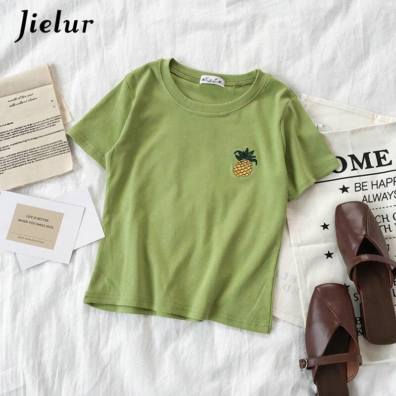 Jielur, camiseta coreana bordada para mujer, camiseta de moda 2020 de piña rosa, 5 colores bonitos, Tops básicos de verano Preppy para niñas