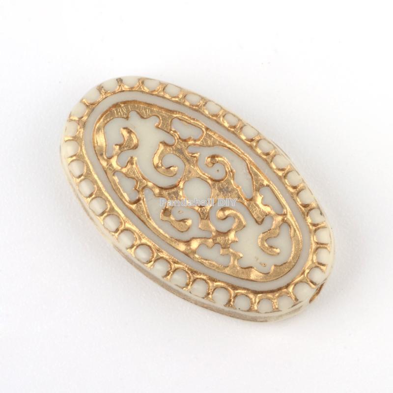 Cuentas ovales chapado de acrílico, Metal dorado entrelazado, Beige, 21x13x4mm, agujero 1,5mm; aproximadamente 592 uds/500g