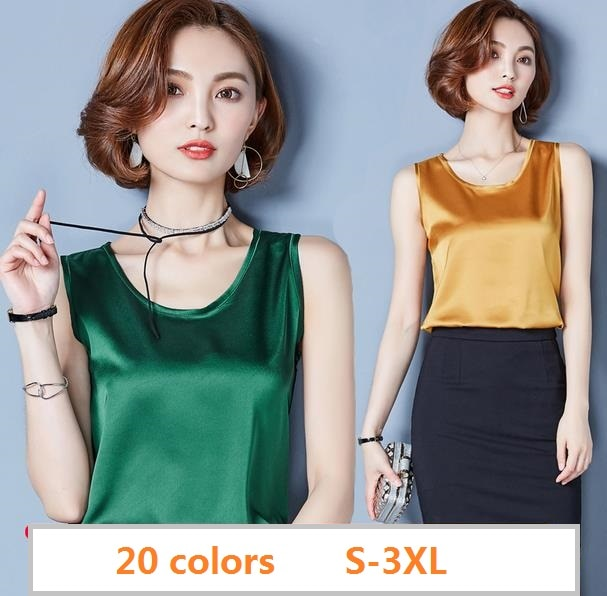 2020 Summer 20 color Plus size sexy O neck satin tank tops women casual loose golssy satin silk camis Girls satin silk tank tops
