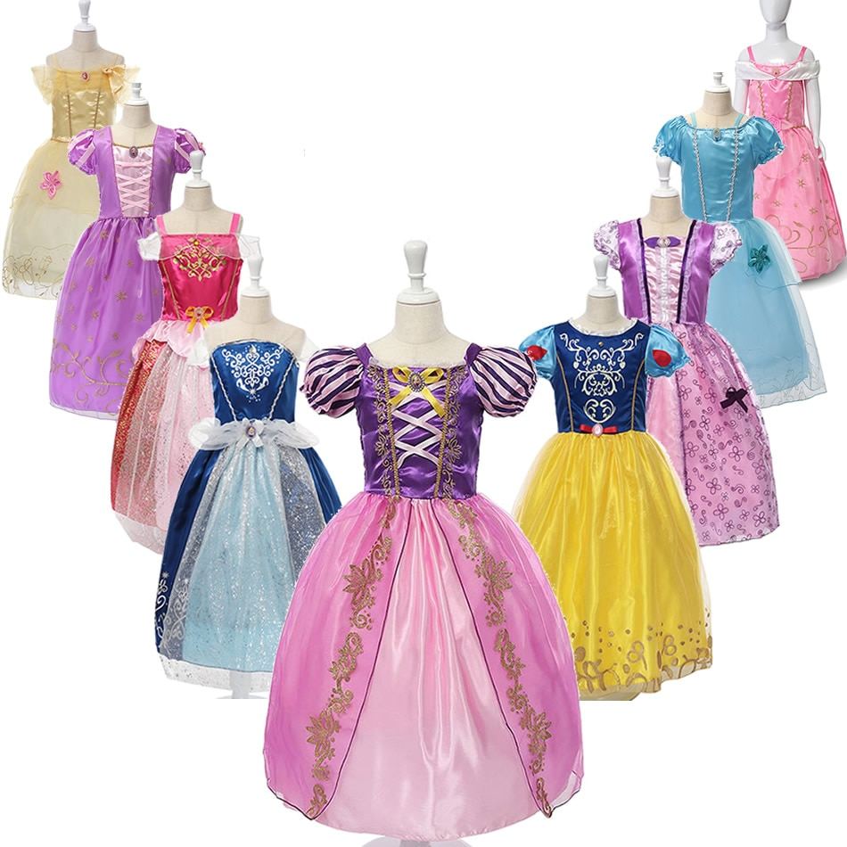 Детские платья в стиле «Рапунцель» для девочек, летние детские платья в стиле «Холодное сердце», «Холодное сердце», «Спящая красавица», «Аврора», косплей костюмы для детей