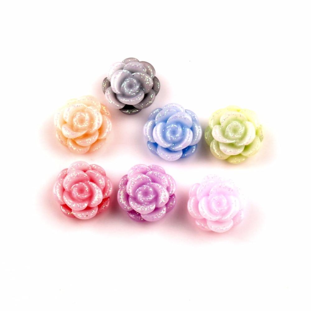 Décoration en résine à fleurs scintillantes   100 pièces, Cabochon mélangé de 13mm, embellissements en perles pour Scrapbooking, accessoires de bricolage