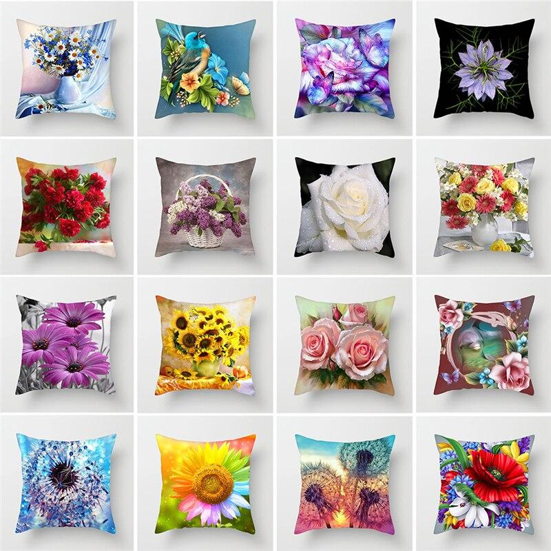 Funda de cojín con estampado de flores de ZENGIA para decoración del hogar, cojines decorativos de girasol, rosa y diente de león, cojines de poliéster para el hogar