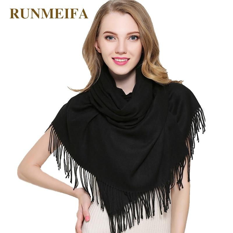 ¡Novedad de 2018! Bufanda de marca para mujer, moda sólida, bufandas de cachemira para otoño e invierno, bufanda larga pashmina cálida para mujer, pañuelo Fular para mujer
