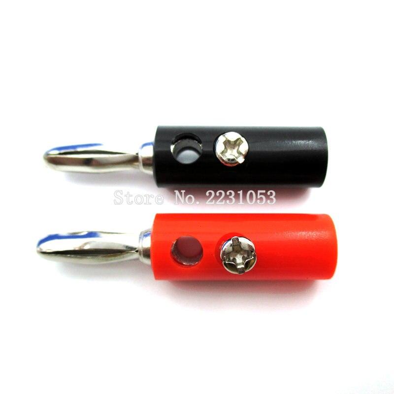 10 unids/lote negro y rojo de alambre de Cable de altavoz de Audio conectores enchufe Banana 4mm adaptador 5 Par