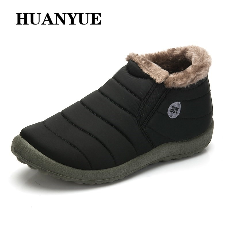 New Fashion 2018 Men Winter Shoes Solid Color Snow Boots Cotton Inside Antiskid Bottom Keep Warm Waterproof Ski Boots Size 35-48