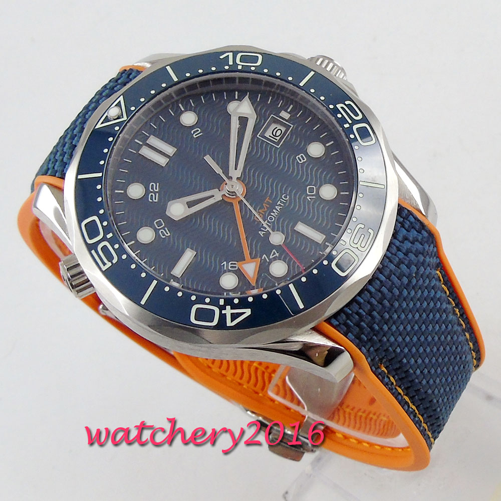 2019 bliger Men's sapphire glass date automatic Clock Top Brand Luxury Reloj shallow waves Blue Dial Wrist Watches Calendar