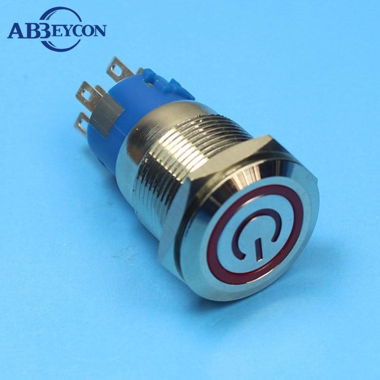 1961Z защелкивающаяся Водонепроницаемая Кнопка 2NO2NC DPDT кнопочный переключатель 19 мм Водонепроницаемая светодиодная кнопка