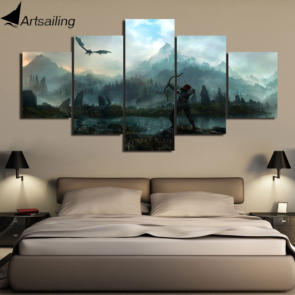 ArtSailing Modular 5 paneles The Elder Scrolls V skyrim Poster Arte Modular de arte de pared para cuadros de pared sala de estar lienzo pintura