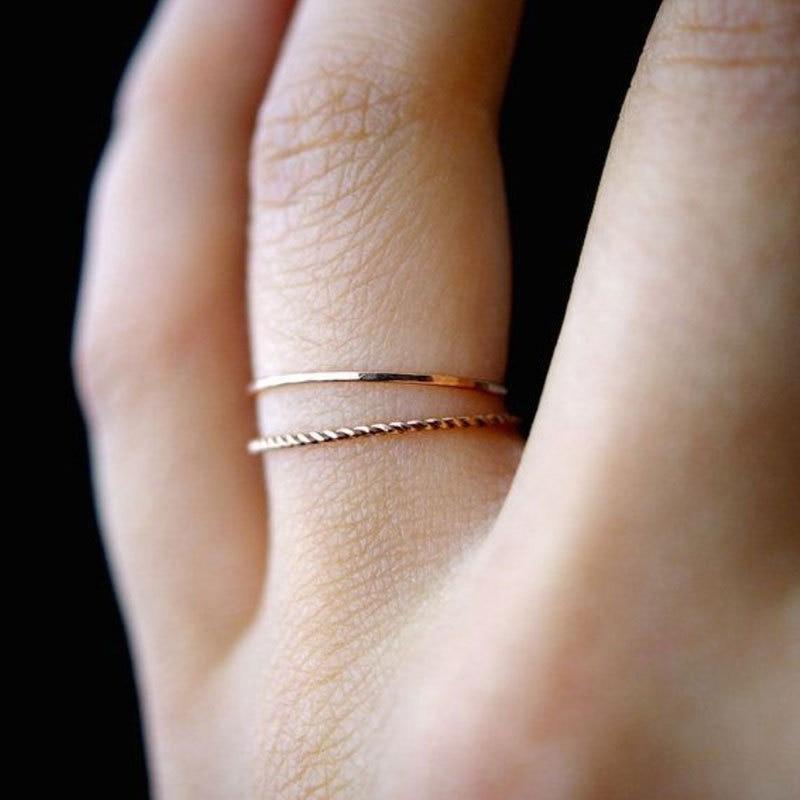 Neue Engagement Rose Gold Frauen ring set für finger ringe lot damen einfache Knuckle ring set für Weibliche Geburtstag geschenke schmuck