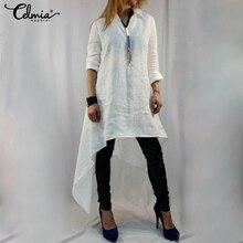 Plus Size Tops Celmia Vrouwen Lange Blouses 2020 Zomer Asymmetrische Zoom Tuniek Shirts Casual Losse Solid Blusas Chemiser Femininas