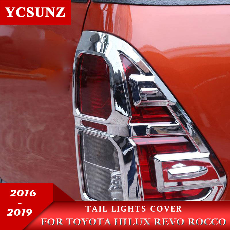 ABS cromo cola cubierta para luces para Toyota Hilux Revo Rocco 2016, 2017, 2018, 2019