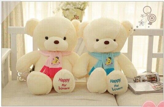 Un par de adorables juguetes de oso de peluche azul y rosa scraf Oso de juguete lindo oso juguetes de regalo muñecas alrededor de 30 0136 cm