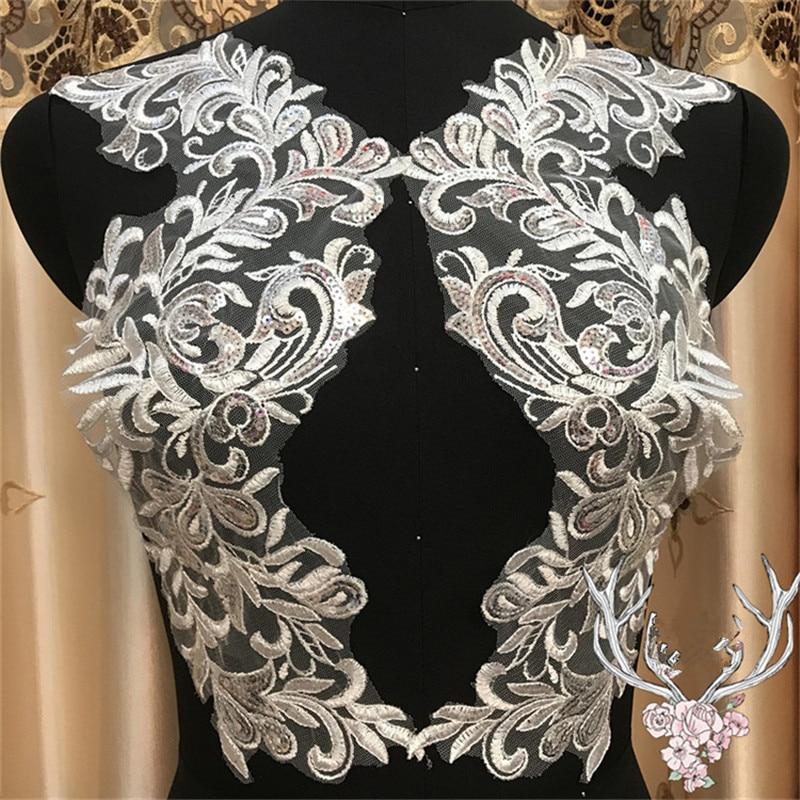 2 paar 17X37cm Delicate Hochzeit Pailletten Kopf Ornamente Körper Spitze Applique Elfenbein Kleid DIY Spitze Trim Kleid DIY Spitze BD0127