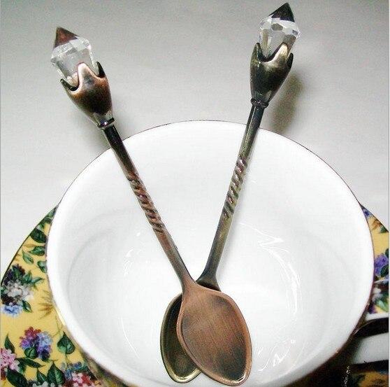 6pcs/lot High-Grade Multifunctional Retro Zinc Alloy Stocked Seasoning Spoon Creative Aristocratic Style KV 045
