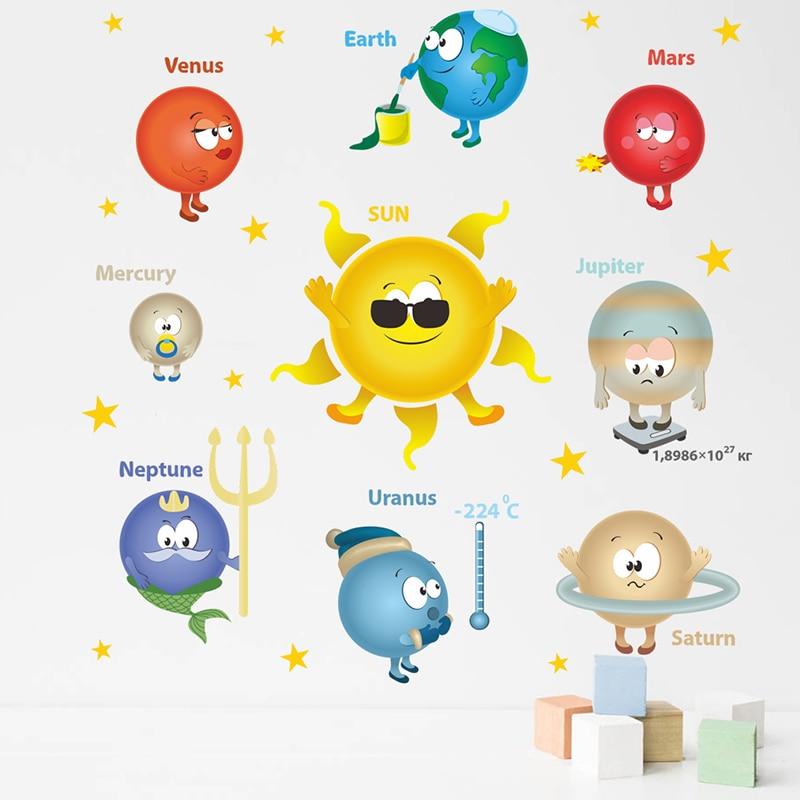 Cartoon Planets Solar System Wall Stickers For Kindergarten Classroom Kids Room Home Decoration PVC Nursery Mural Art Wall Decal