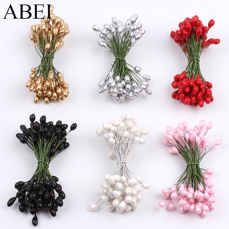 100 unids/lote 4mm perla flor estambre de pistilo flores para boda decoración de caja de pasteles DIY Artificial álbum de recortes de flores tarjetas
