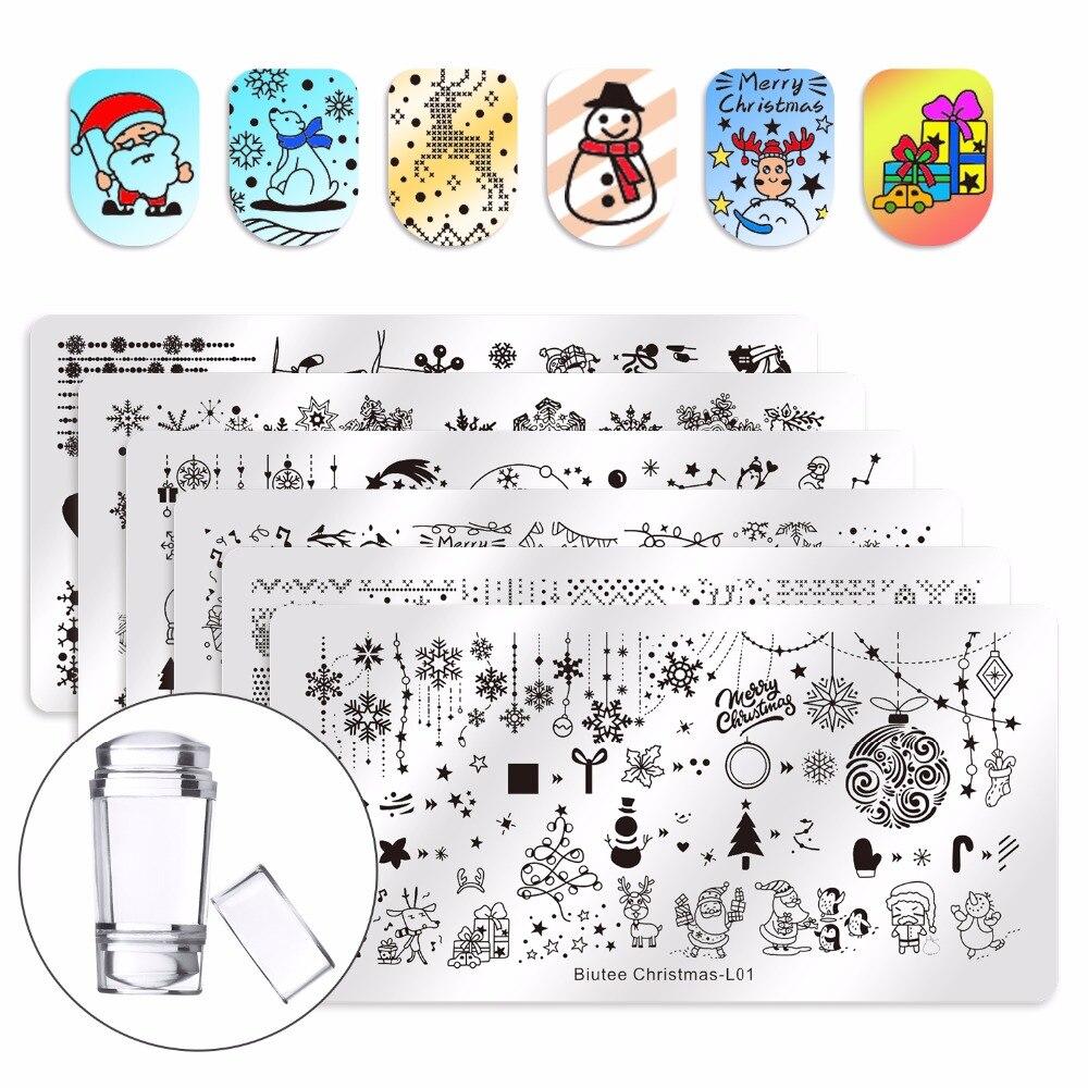 Biutee Christmas Nail Stamping Plate Design Set Snowman Polar Bear Rectangle Template Santa Elk Nail Art Printing Stencil Tool