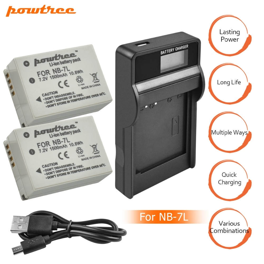 2Packs NB-7L NB7L NB 7L Li-ion Battery 7.2V 1500mAh+Charger with LED For Canon PowerShot G10 G11 G12 SX30 E1011C SX30IS AKKU L10