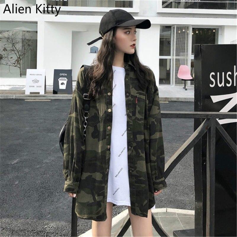 Alien Kitty 2018 Autumn Loose Streetwear Irregular Camouflage Jacket Women Wide-Waisted Full-Sleeved Tops Female Harajuku Coat