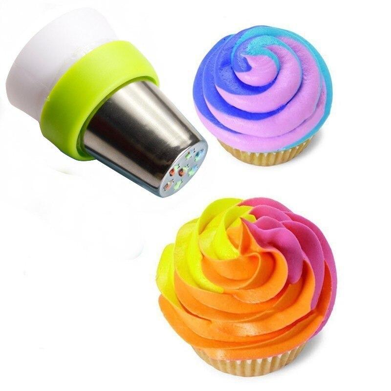 Saco de confeitar cobertura de 3 cores, conversor de bico russo, acoplador de bolo, saco de confeitar, adaptador de bico para fondant, bolo, 1 peça ferramenta de decoração