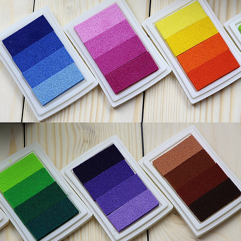 6 pcs Gradient Craft Ink Pad Stamps Partner Children's Finger Painting InkPads Wedding sign in Color Ink Pad DIY Rubber Stamps