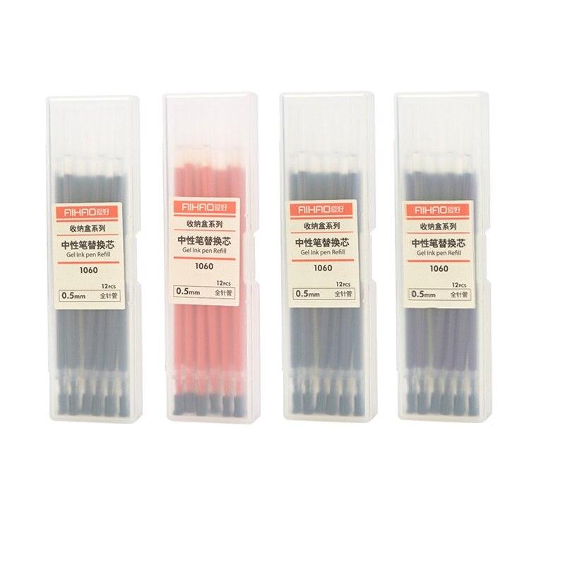 Bolígrafo de tinta de Gel de color, 12 Uds., punta de jeringa de Metal de 0,5mm, bolígrafos papelería, accesorios de oficina, suministros escolares EB738