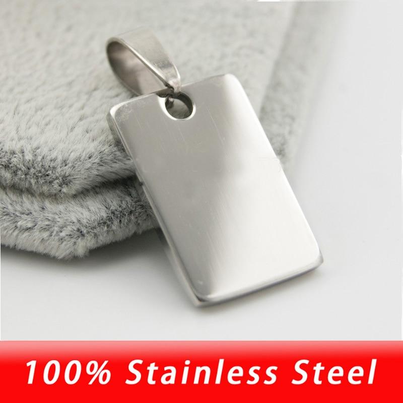 316L Acero inoxidable blanco 15x23mm etiquetas rectangulares para perro para hombres etiquetas de identificación de Metal collares y colgantes espejo pulido al por mayor 50 Uds