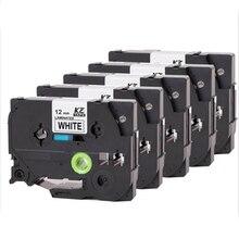 5 unids/pack cintas de impresora Tze 231 tz231 tze231 cinta 12mm negro en blanco laminado cinta tze-231 tz-231 para Hermano