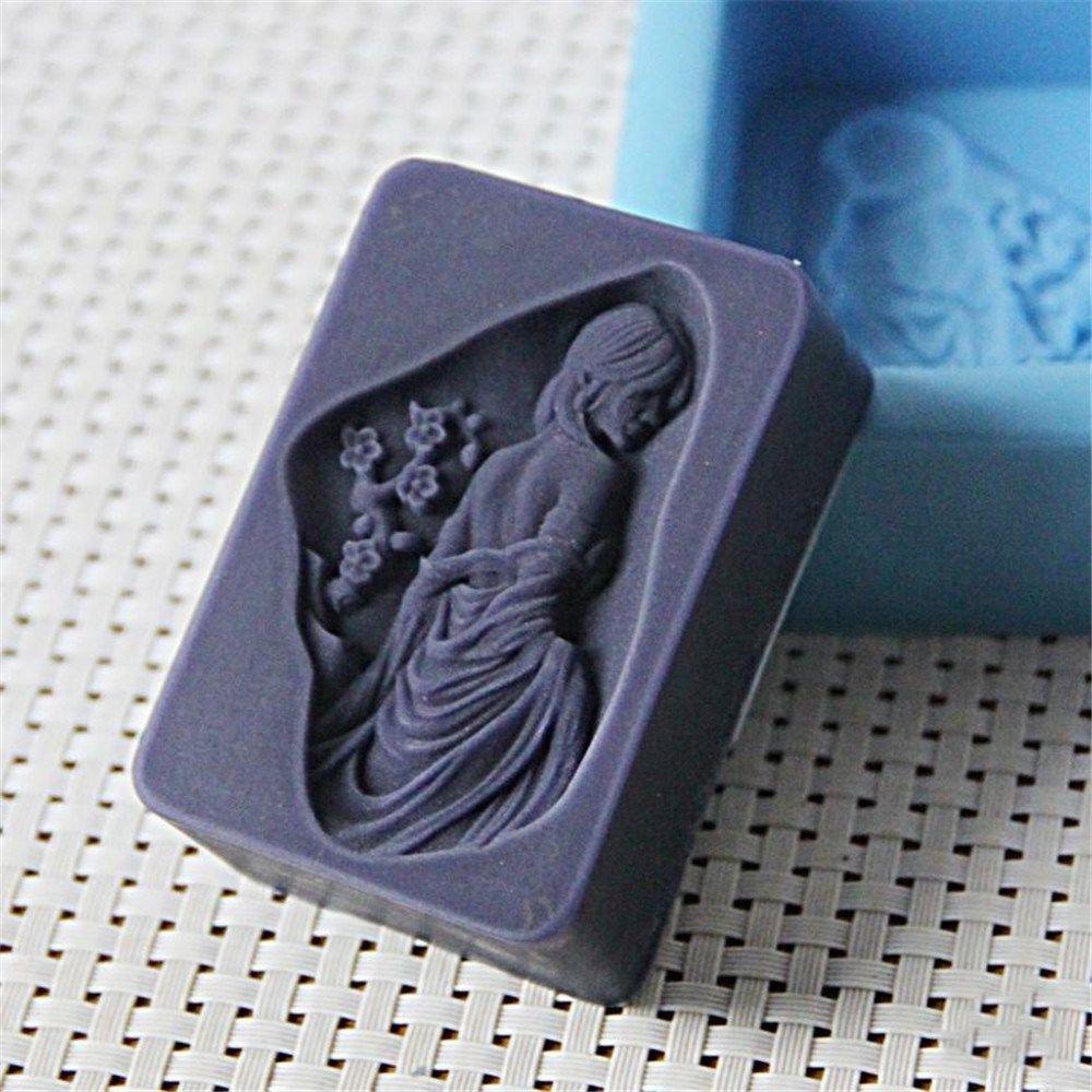 Силиконовая форма для мыла для девушек и женщин, рельефная форма для эфирного масла, форма для мыла, ароматический камень, Mou, ручная работа, сделай сам, ремесло, силикон