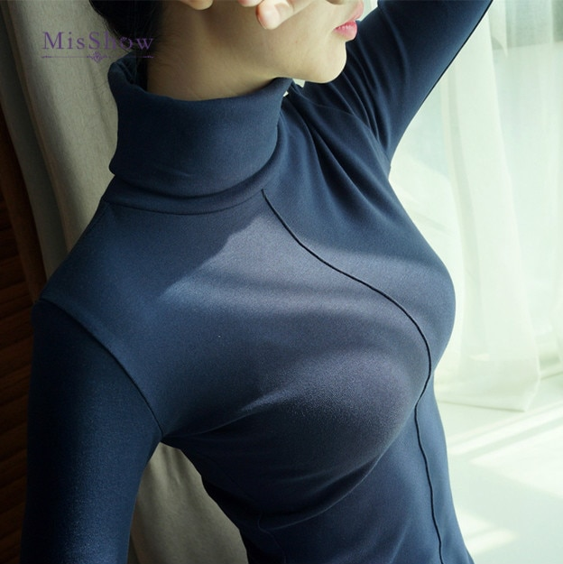 Camisola feminina estilo coreano macio magro inverno gola alta bodycon pullovers básico manga longa puxar femme casaco feminino topo