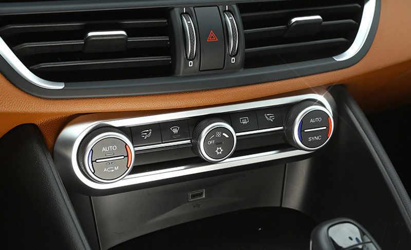 Für Alfa Romeo Giulia Stelvio Zubehör Abs Carbon Oder Chrome Stil Auto Klimaanlage Knopf Rahmen Trim Aufkleber Auto Styling Stoßstangen Aliexpress