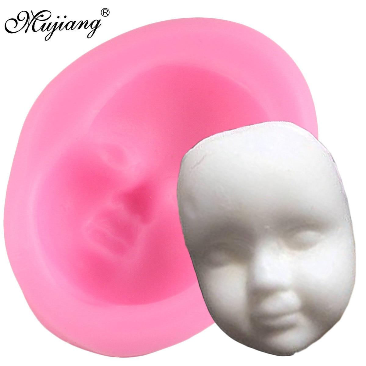 Molde de silicona para cara de bebé 3D, utensilios para decoración de tortas con fondant, arcilla polimérica, Chocolate, caramelo, pasta de azúcar, moldes para arcilla y jabón