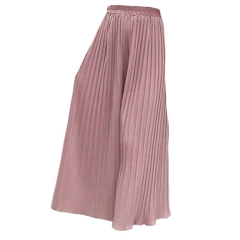 Pantalones acampanados de chifón de cintura alta de mujer de talla grande Casual señoras Pantalones culottes de Mujer Pantalones plisados de pierna ancha