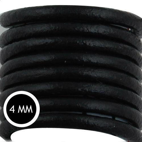 Cable de cuero redondo negro Popular al por mayor, cordón de cuero trenzado, vendido 50 yardas/rollo