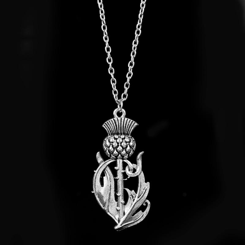 Dongsheng, el más nuevo, Outlander, collar con colgante de flor nacional escocesa, collar de cardo escocés, alas, joyería de cardo encantador, 30