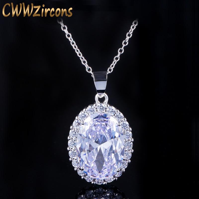 CWWZircons hermoso collar redondo grande de Zirconia cúbica colgante de cristal para las mujeres marca de moda color plateado CZ regalo de joyería CP016