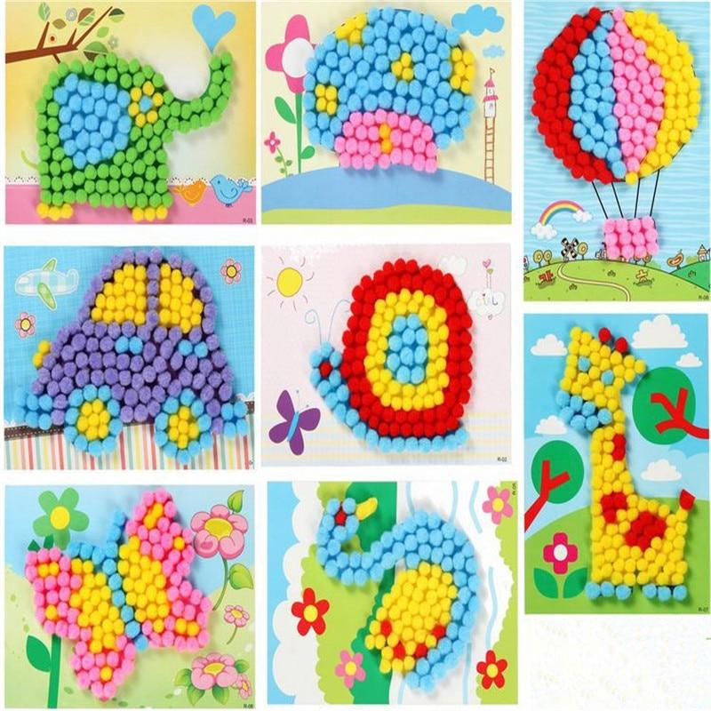 1 шт., детские, творческие, плюшевые, с шариками, наклейки для рисования, Обучающие, ручной работы, материал, Мультяшные пазлы, поделки, игрушки