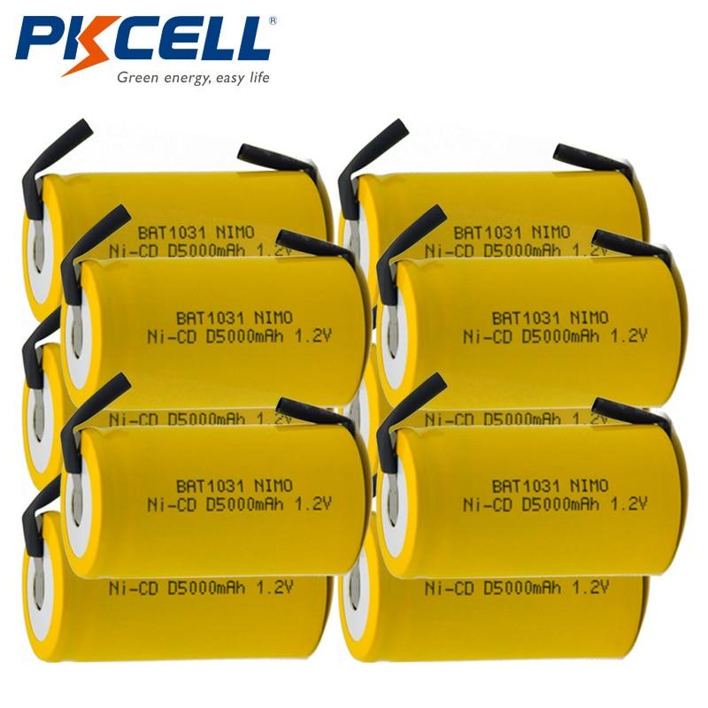 10x PKCELL D размер 1,2 В 5000 мАч никель-кадмиевая аккумуляторная батарея с кнопками Быстрая доставка