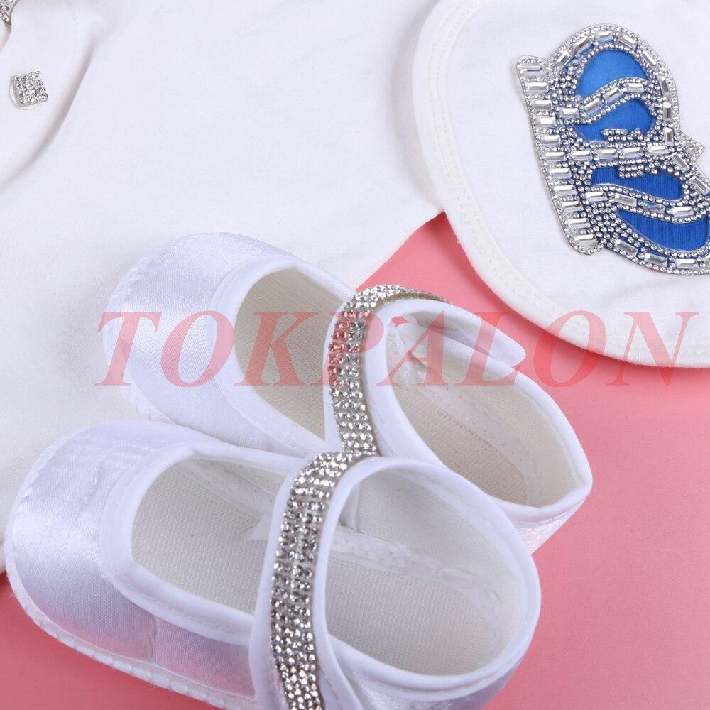 Купить с кэшбэком 0-3 Month Newbron baby girl clothes set white color cotton bodysuit with crown rhinestone crystal baby bodysuit baby cloth 2020