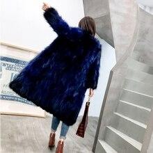 Manteau en fourrure de raton noir renard, bleu vert saphir 100 cm vêtements dextérieur Long manteau en fourrure vêtement Plus vêtements dextérieur grande taille 7XL DCHD