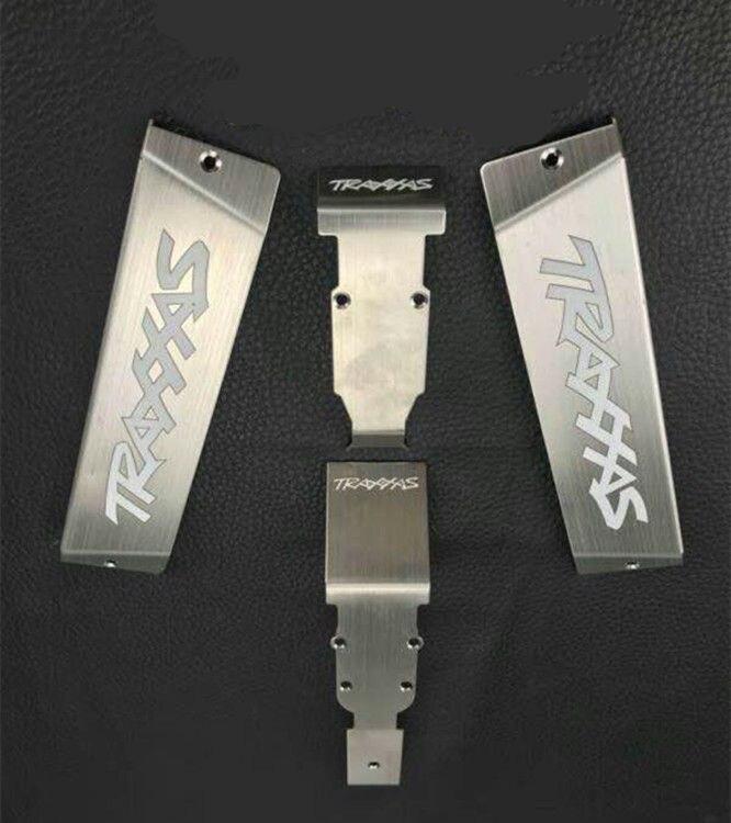 Chasis de acero inoxidable armadura placa de deslizamiento Protector de batería para 1/10 TRAXXAS E-REVO SUMMIT RC piezas de coche