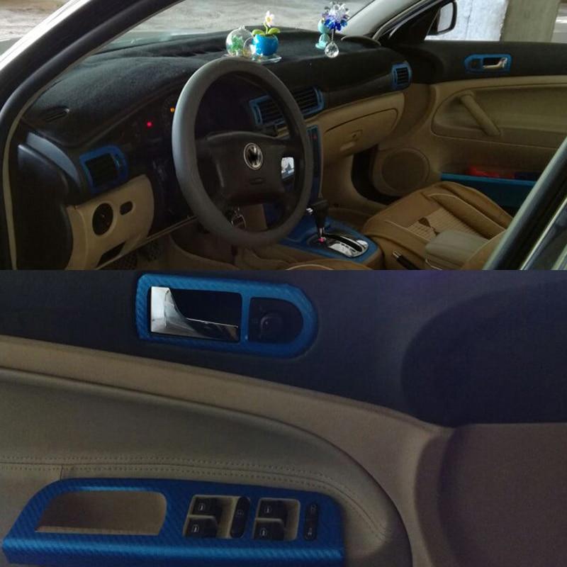 Para Volkswagen VW Passat B5 Interior Panel de Control Central manija de puerta 3D/5D fibra de carbono pegatinas accesorios de diseño de coche