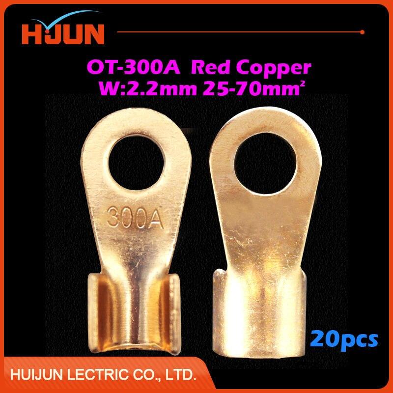 20 pçs/lote OT-300A 12.2 milímetros Dia Red Splice Fio Crimp Terminal Circular Nu de Cobre Conector para 25-70 Quadrado cabo Frete Grátis