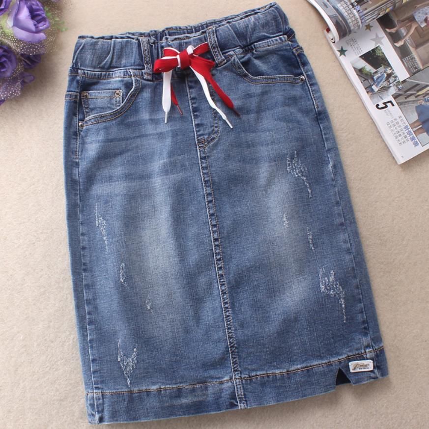 تنورة جينز نسائية ، خصر عالي ، مرنة ، نحيفة ، ورك ، بطول الركبة ، مقاس كبير 3XL