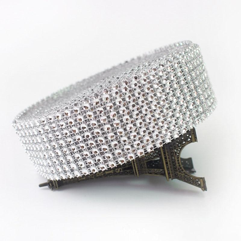 2 yards 4 cm Bling Diamant Mesh Wrap Band Silber Strass Mesh Rolle Home Party Dekoration Acryl Kristall Band Handgemachte handwerk